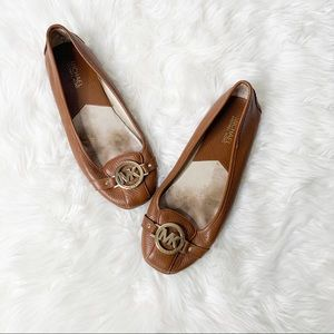 Michael Kors Brown Leather Slip On Loafer Flats 9
